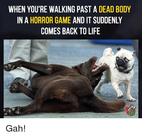 horror: WHEN YOU'RE WALKING PAST A DEAD BODY  IN A HORROR GAME AND IT SUDDENLY  COMES BACK TO LIFE Gah!
