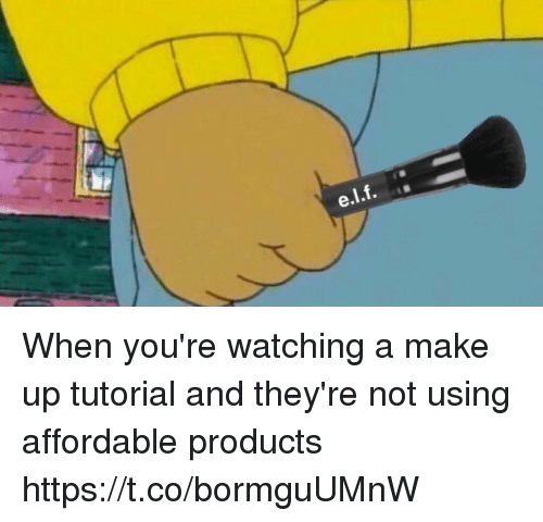 Girl Memes, Tutorial, and Make: When you're watching a make up tutorial and they're not using affordable products https://t.co/bormguUMnW
