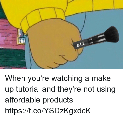 Girl Memes, Tutorial, and Make: When you're watching a make up tutorial and they're not using affordable products https://t.co/YSDzKgxdcK