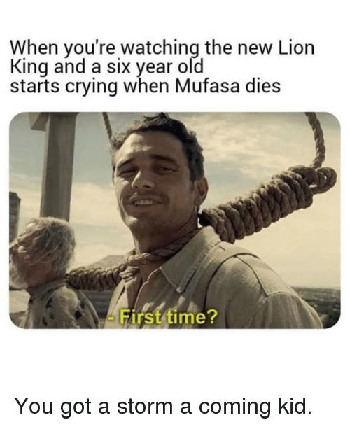 Mufasa: When you're watching the new Lion  King and a six year old  starts crying when Mufasa dies  Hirst time You got a storm a coming kid.