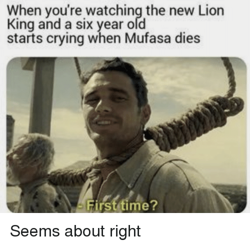 Mufasa: When you're watching the new Lion  King and a six year ofd  starts crying when Mufasa dies  First time? Seems about right