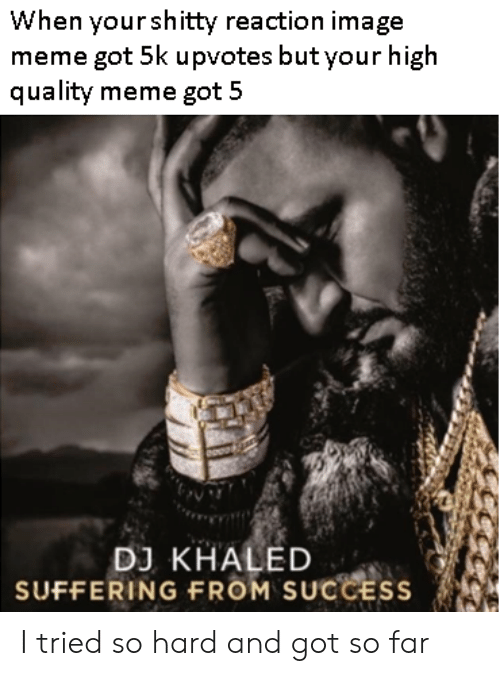 i tried so hard and got so far: When yourshitty reaction image  meme got 5k upvotes but your high  quality meme got 5  DJ KHALED  SUFFERING FROM SUCCESS I tried so hard and got so far