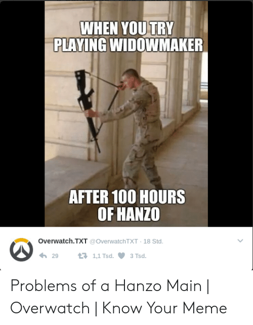 Hanzo Overwatch: WHEN YOUTRY  PLAYING WIDOWMAKER  AFTER 10O HOURS  OF HANZO  Overwatch.TXT @OverwatchTXT 18 Std.  わ29  1,1 Tsd.  3Tsd. Problems of a Hanzo Main | Overwatch | Know Your Meme