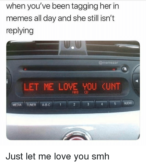 Love, Memes, and Smh: when you've been tagging her in  memes all day and she still isn't  replying  @memezar  LET ME LOVE YOU CUNT  MEDIA TUNER A-B-C1  5 AUDIO Just let me love you smh