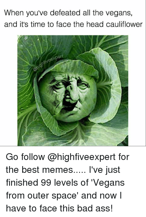 Ironic, Bad Ass, and Cauliflower: When you've defeated all the vegans,  and it's time to face the head cauliflower  ert Go follow @highfiveexpert for the best memes..... I've just finished 99 levels of 'Vegans from outer space' and now I have to face this bad ass!