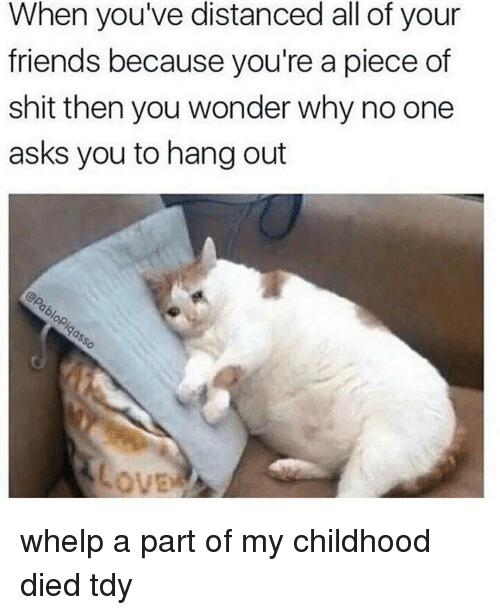 Pieces Of Shits: When you've distanced all of your  friends because you're a piece of  shit then you wonder why no one  asks you to hang out whelp a part of my childhood died tdy
