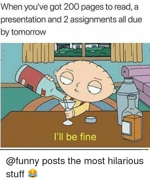 Bailey Jay, Funny, and Memes: When you've got 200 pages to read, a  presentation and 2 assignments all due  by tomorrovw  I'll be fine @funny posts the most hilarious stuff 😂
