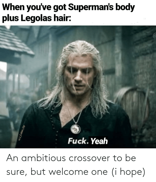 Ambitious: When you've got Superman's body  plus Legolas hair:  Fuck. Yeah  u/J_Calen_Up An ambitious crossover to be sure, but welcome one (i hope)