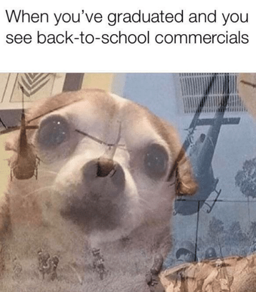 Back to School: When you've graduated and you  see back-to-school commercials