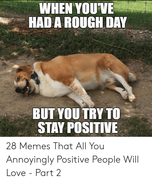 Be Positive Meme: WHEN YOUVE  HAD A ROUGH DAY  BUT YOU TRY TO  STAY POSITIVE 28 Memes That All You Annoyingly Positive People Will Love - Part 2