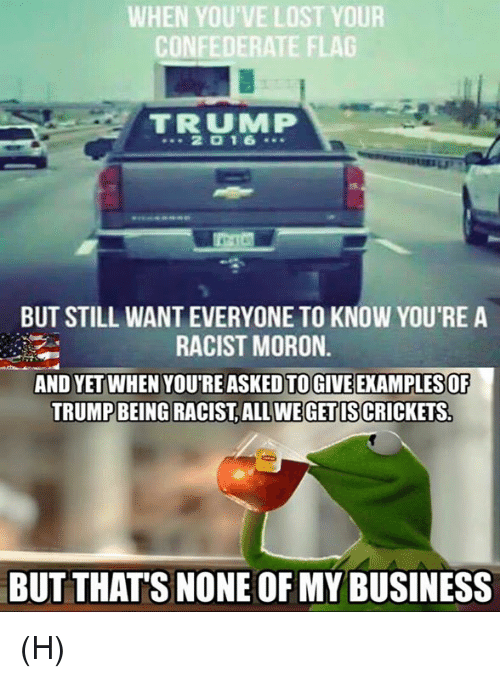 Confederate Flag, Memes, and Lost: WHEN YOU'VE LOST YOUR  CONFEDERATE FLAG  TRUMMP  2 D 16  BUT STILL WANTEVERYONE TO KNOW YOU'RE A  RACIST MORON.  AND YET WHEN YOUTREASKEDTOGIVEEXAMPLESOF  TRUMP BEING RACIST ALL WE GETISCRICKETS  BUT THATS NONE OF MY BUSINESS (H)