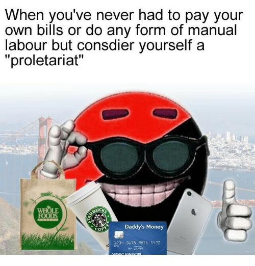 """proletariat: When you've never had to pay your  own bills or do any form of manual  labour but consdier yourself a  """"proletariat""""  WH  OLE  SUC  Daddy's Money  1234 5676 982 5422"""