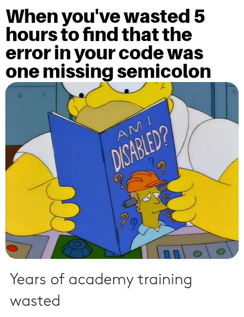 ami: When you've wasted 5  hours to find that the  error in your code was  one missing semicolon  AMI  DISABLED? Years of academy training wasted