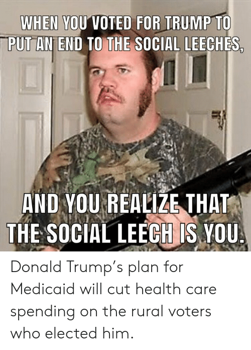 Leech: WHEN YOUVOTED FOR TRUMP TO  PUT AN END TO THE SOCIAL LEECHES  AND YOU REALIZE THAT  THE SOCIAL LEECH IS,YOU Donald Trump's plan for Medicaid will cut health care spending on the rural voters who elected him.