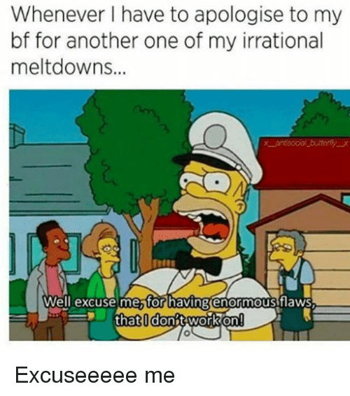 Another One, Girl Memes, and Another: Whenever I have to apologise to my  bf for another one of my irrational  meltdowns.  9  7  Well excuse mestor havingienormous flaws  Well excuse etor having(enormous fiaws  that I don;twork on!! Excuseeeee me