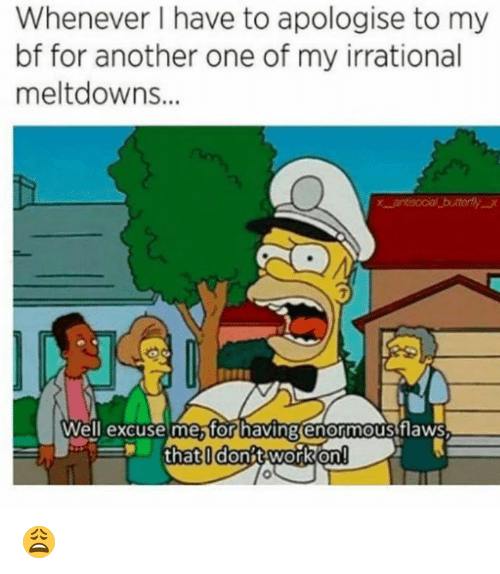 Another One, Memes, and Work: Whenever I have to apologise to my  bf for another one of my irrational  meltdowns...  7  Well'excusemesfor having enormousiflaws  thatldonbt work on! 😩