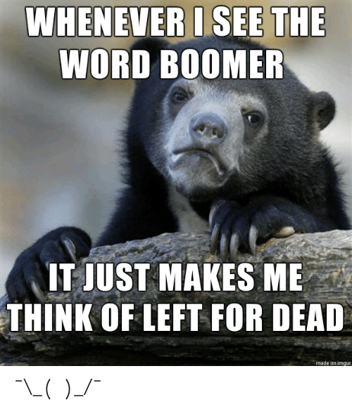 Whenever I: WHENEVER I SEE THE  WORD BOOMER  IT JUST MAKES ME  THINK OF LEFT FOR DEAD  made on imgur ¯\_(ツ)_/¯