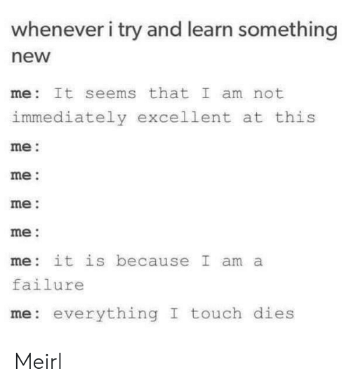 me me me: whenever i try and learn something  new  me It seems that I am not  immediately excellent at this  me:  me:  me:  me:  me it is because I am a  failure  me: everything I touch dies Meirl