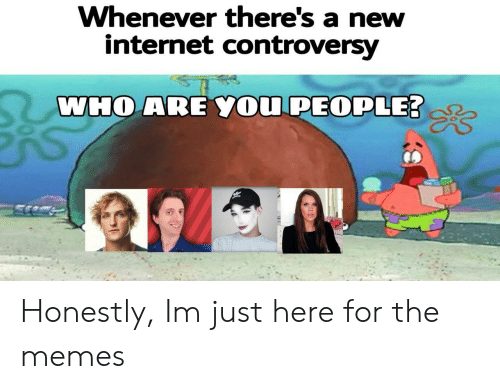 controversy: Whenever there's a new  internet controversy  WHO ARE YOU PEOPLE Honestly, Im just here for the memes