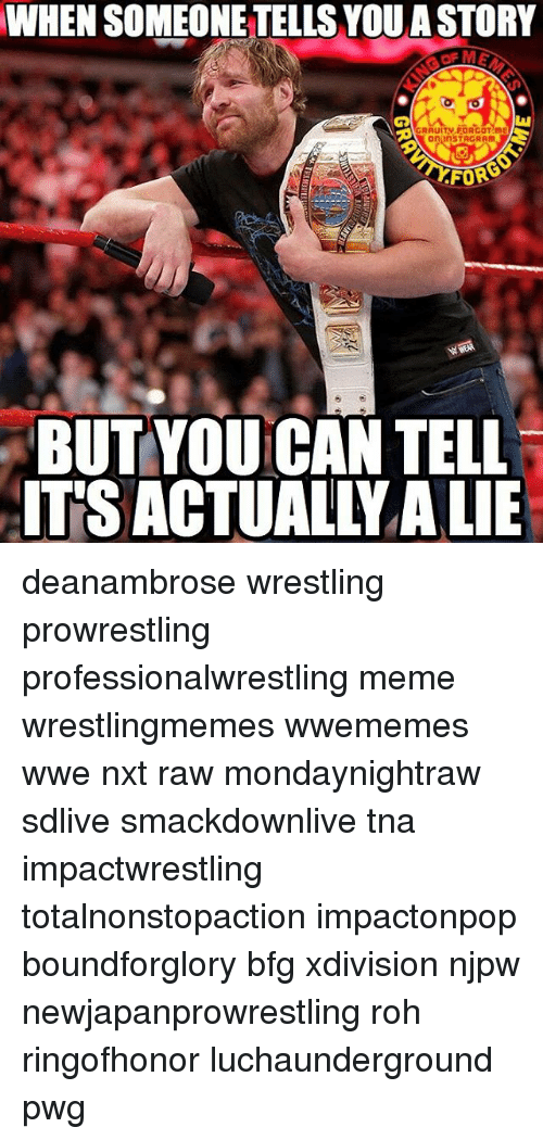 tna: WHENSOMEONETELLS YOU A STORY  On linsTACRAm  FOR  BUT YOU CAN TELL  ITS ACTUAL YALIE deanambrose wrestling prowrestling professionalwrestling meme wrestlingmemes wwememes wwe nxt raw mondaynightraw sdlive smackdownlive tna impactwrestling totalnonstopaction impactonpop boundforglory bfg xdivision njpw newjapanprowrestling roh ringofhonor luchaunderground pwg