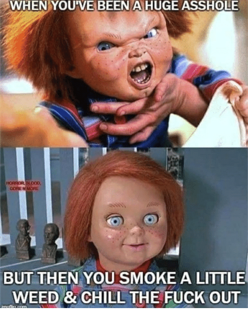 Chill, Memes, and Weed: WHENYOU  VE  BEEN  A  HUGE  ASSHOLE  GORE N  BUT THEN YOU SMOKE A LITTLE  WEED & CHILL THE FUCK OUT