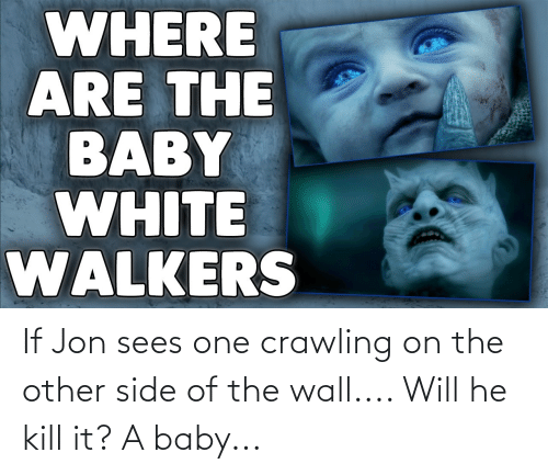 Other Side Of The Wall: WHERE  ARE THE  BABY  WHITE  WALKERS If Jon sees one crawling on the other side of the wall.... Will he kill it? A baby...
