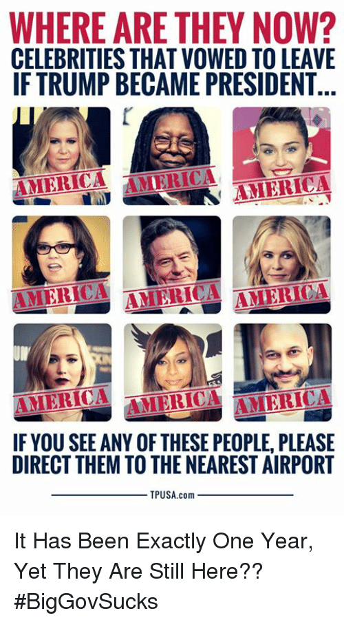 America, Memes, and Trump: WHERE ARE THEY NOW?  CELEBRITIES THAT VOWED TO LEAVE  IF TRUMP BECAME PRESIDENT...  ANERICA AMERICA AMERICA  AMERICA AMERICA 1H匯ICA  IF YOU SEE ANY OF THESE PEOPLE, PLEASE  DIRECT THEM TO THE NEAREST AIRPORT  TPUSA.com It Has Been Exactly One Year, Yet They Are Still Here?? #BigGovSucks