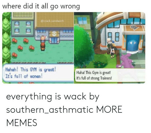 Heheh: where did it all go wrong  @crack.sandwich  Heheh! This GM is great!  It's full ofomen  Haha! This Gym is great!  It's full of strong Trainers! everything is wack by southern_asthmatic MORE MEMES