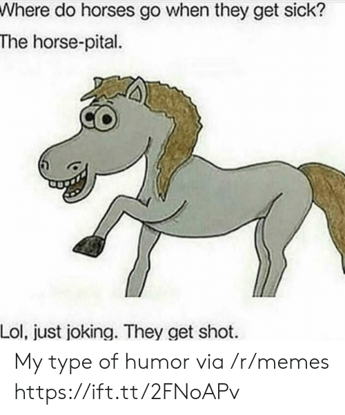 My Type: Where do horses go when they get sick?  The horse-pital  Lol, just joking. They get shot My type of humor via /r/memes https://ift.tt/2FNoAPv