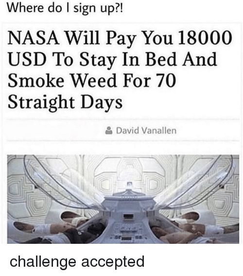 Stay In Bed: Where do I sign up?!  NASA Will Pay You 18000  USD To Stay In Bed And  Smoke Weed For 70  Straight Days  David Vanaller challenge accepted