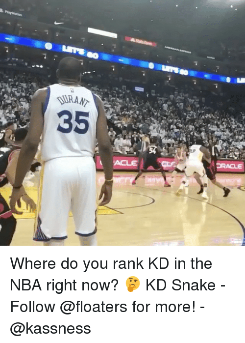 Memes, Nba, and Snake: Where do you rank KD in the NBA right now? 🤔 KD Snake - Follow @floaters for more! - @kassness