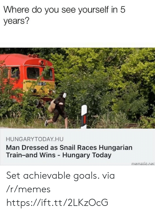 Hungarian: Where do you see yourself in 5  years?  HUNGARYTODAY HU  Man Dressed as Snail Races Hungarian  Train-and Wins Hungary Today Set achievable goals. via /r/memes https://ift.tt/2LKzOcG