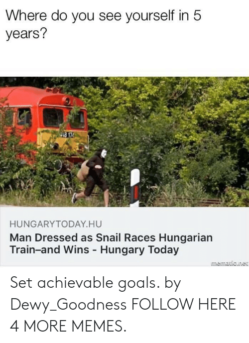 Hungarian: Where do you see yourself in 5  years?  HUNGARYTODAY HU  Man Dressed as Snail Races Hungarian  Train-and Wins Hungary Today Set achievable goals. by Dewy_Goodness FOLLOW HERE 4 MORE MEMES.