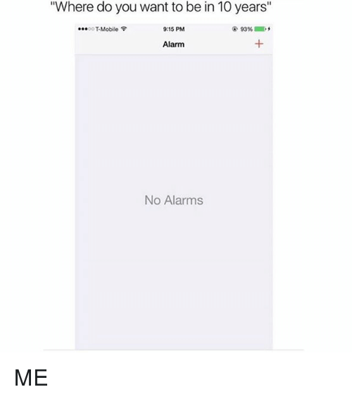 Memes, Alarm, and Mobile: Where do you want to be in 10 years  93%.  eeeooT Mobile  9:15 PM  Alarm  No Alarms ME