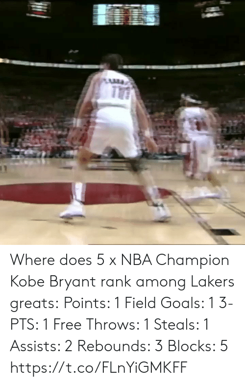 Blocks: Where does 5 x NBA Champion Kobe Bryant rank among Lakers greats:  Points: 1 Field Goals: 1 3-PTS: 1 Free Throws: 1 Steals: 1 Assists: 2 Rebounds: 3 Blocks: 5   https://t.co/FLnYiGMKFF