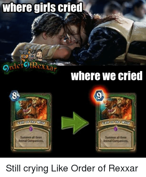 Crying, Girls, and Memes: where girls cried  Where we cried  call Lhe Wind  Summon all three  Summon all three  Animal Companions.  Animal Companions. Still crying Like Order of Rexxar