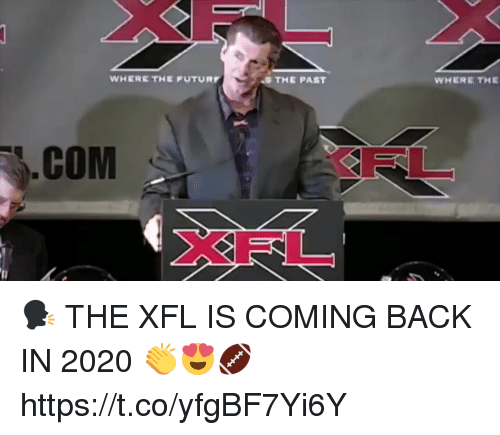 Xfl: WHERE THE FUTUR  THE PAST  WHERE THE  COM  FL  XFL 🗣️THE XFL IS COMING BACK IN 2020 👏😍🏈 https://t.co/yfgBF7Yi6Y