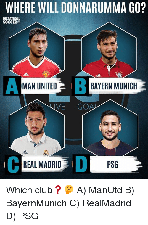 Club, Memes, and Real Madrid: WHERE WILL DONNARUMMA GO?  INSTATROLL  SOCCER  A MAN UNITED  BAYERN MUNICH  IVE  REAL MADRID PSG Which club❓🤔 A) ManUtd B) BayernMunich C) RealMadrid D) PSG