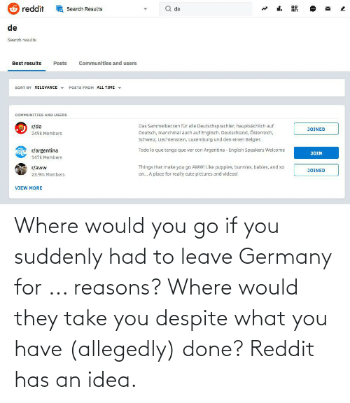 Allegedly: Where would you go if you suddenly had to leave Germany for ... reasons? Where would they take you despite what you have (allegedly) done? Reddit has an idea.