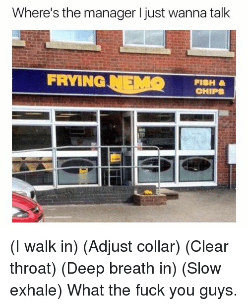 Fuck You, Fish, and Fuck: Where's the manager I just wanna talk  FRYING NEMOHIPS  FISH (I walk in) (Adjust collar) (Clear throat) (Deep breath in) (Slow exhale) What the fuck you guys.