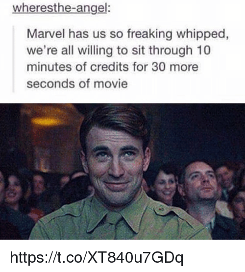 Angel, Marvel, and Movie: wheresthe-angel:  Marvel has us so freaking whipped,  we're all willing to sit through 10  minutes of credits for 30 more  seconds of movie https://t.co/XT840u7GDq