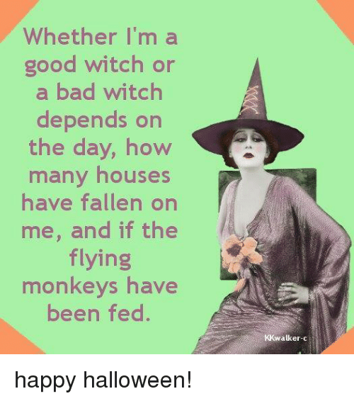 flying monkeys: Whether I'm a  good witch or  a bad witch  depends on  the day, how  many houses  have fallen on  me, and if the  flying  monkeys have  been fed.  alker-cr happy halloween!