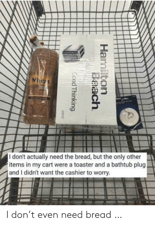 Actually Need: Whezt  br  I don't actually need the bread, but the only other  items in my cart were a toaster and a bathtub plug  and I didn't want the cashier to worry.  Hamilton  Beach  Ccod Thinking  220142 I don't even need bread …