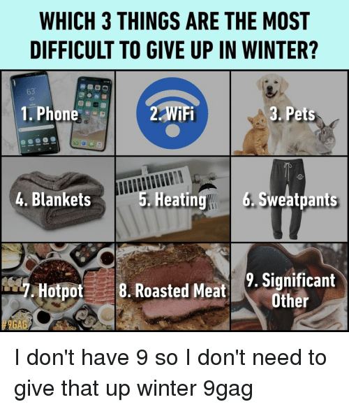 Sweatpants: WHICH 3 THINGS ARE THE MOST  DIFFICULT TO GIVE UP IN WINTER?  8  3. Pets  63  1. Phone  2 WiFi  4. Blankets  5. Heatin  g 6.Sweatpants  Hotpot8. Roasted Meat Scan  9. Significant  Other  # 9GAG I don't have 9 so I don't need to give that up⠀ winter 9gag