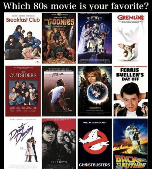 outsiders: Which 80s movie is your favorite?  Breakfast ClhutGOON  GREMLINS  BEETTEJUICE  Breakfast Club  3  FERRIS  BUELLER'S  DAY OFF  THE  OUTSIDERS  WHO YA GONNA CALL?  THE  LOST BOYS  GH STBUSTERS EUTURF