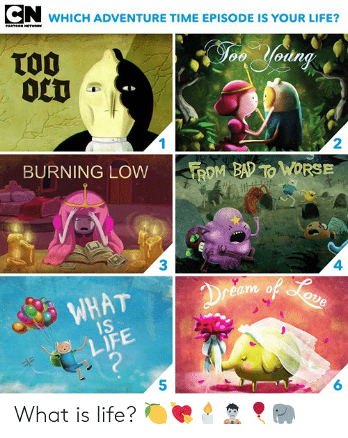 rom: WHICH ADVENTURE TIME EPISODE IS YOUR LIFE?  CARTOON NETWORK  TO0  0CT  Jon Yodng  1  2  BURNING LOW  ROM BAD TO WORSE  3  4  Dreem of oun  WHAT  1S  LIFE  ?  6 What is life? 🍋💘🕯🧟‍♂️🎈🐘⁣⁣