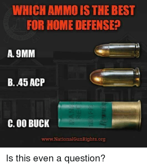 9mm: WHICH AMMO IS THE BEST  FOR HOME DEFENSE  A. 9MM  B. 45 ACP  C. 00 BUCK  www. National GunRights.org Is this even a question?