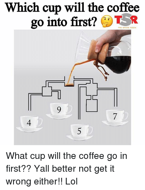Lol, Memes, and Shade: Which cup will the coffee  go into first?TR  THE SHADE ROOM  7  4  5 What cup will the coffee go in first?? Yall better not get it wrong either!! Lol