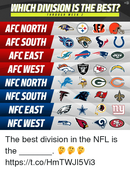 Afc South: WHICH DIVISION IS THE BEST?  THRO UGH WEEK 2  AFC NORTH  AFC SOUTH  AFC EAST  AFC WEST  NFC NORTH  NFC SOUTH  NFC EAST  NFC WEST  Steelers  JETS  RAIDERS  nu The best division in the NFL is the _______. 🤔🤔🤔 https://t.co/HmTWJI5Vi3