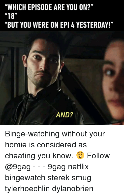 "9gag, Cheating, and Homie: ""WHICH EPISODE ARE YOU ON?""  ""18""  ""BUT YOU WERE ON EPI 4 YESTERDAY!""  AND? Binge-watching without your homie is considered as cheating you know. 😲 Follow @9gag - - - 9gag netflix bingewatch sterek smug tylerhoechlin dylanobrien"